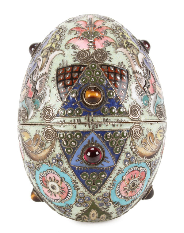 Russian silver and enamel Easter egg