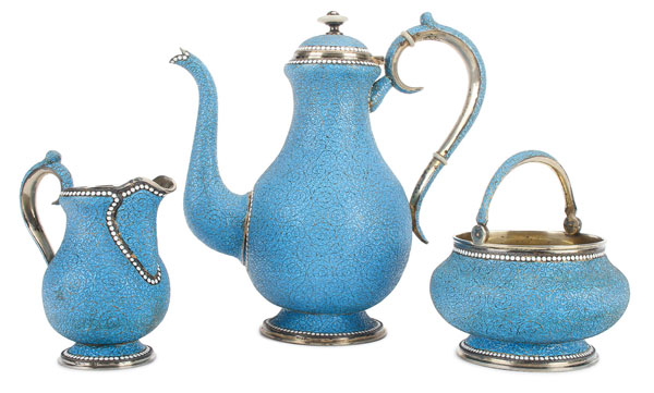 Russian silver and enamel tea set