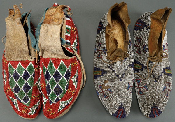 TWO PAIR OF MEN'S PLAINS BEADED MOCCASINS, CIRCA 1890.