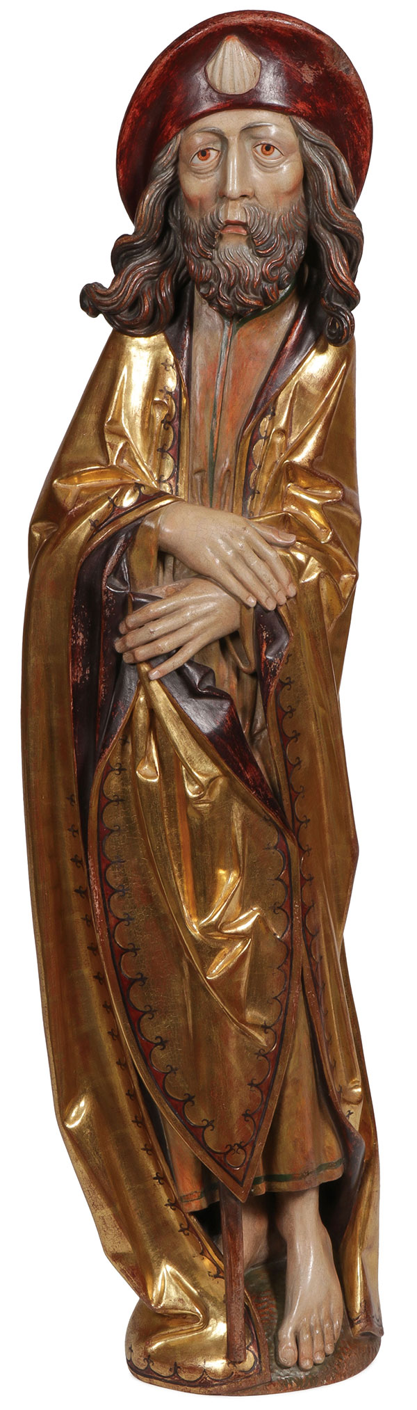 A LARGE CARVED GILT WOOD FIGURE OF ST. JAMES.