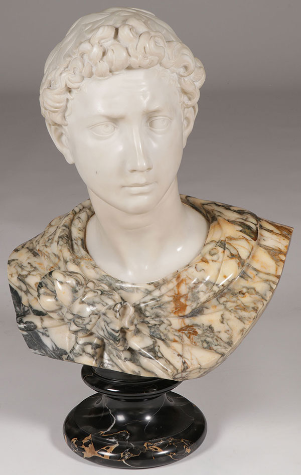 A CARVED MARBLE BUST OF ST. GEORGE, ITALIAN, 19TH C.